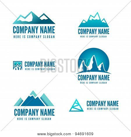 Logo, badge, label, logotype elements with mountains for web, business or other projects