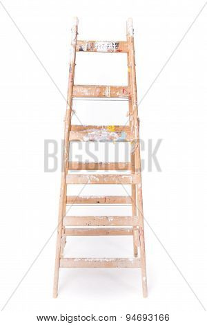 Dirty Step Ladder With Paint Spillings