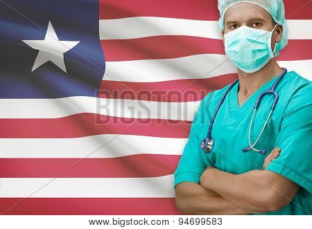 Surgeon With Flag On Background Series - Liberia