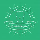 Vintage hipster banner, insignia, radial sunburst with tooth. Dental clinic, hospital, private practice. Minimal design. Outline. poster