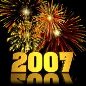 fireworks displayed behind a 3d 2007 with reflections. poster