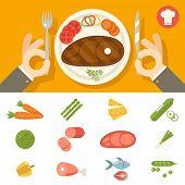 Hands cutlery Plate Food Icon Set Restaurant Promotion concept Symbol Stylish Background Flat Design Vector Illustration poster