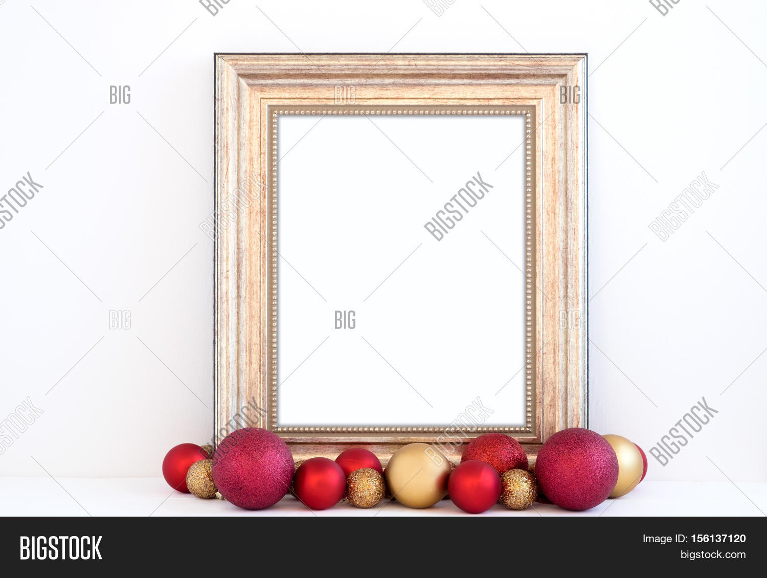 3dcead24c1b1 Christmas styled mockup portrait frame with red and gold baubles overlay  your business message promotion headline