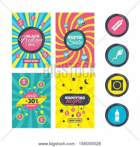 Sale website banner templates. Safe sex love icons. Condom in package symbol. Sperm sign. Fertilization or insemination. Heart symbol. Ads promotional material. Vector