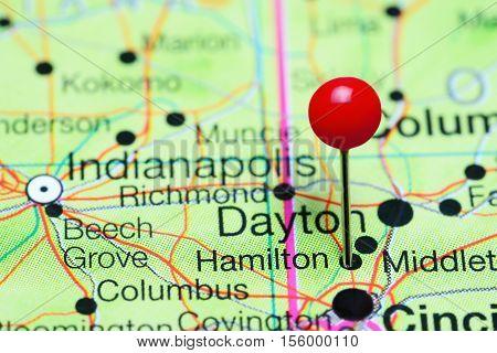 Hamilton pinned on a map of Ohio, USA