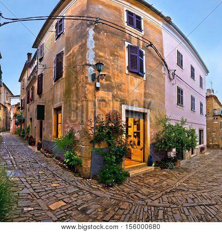 Groznjan medieval village cobbled street region of Istria Croatia