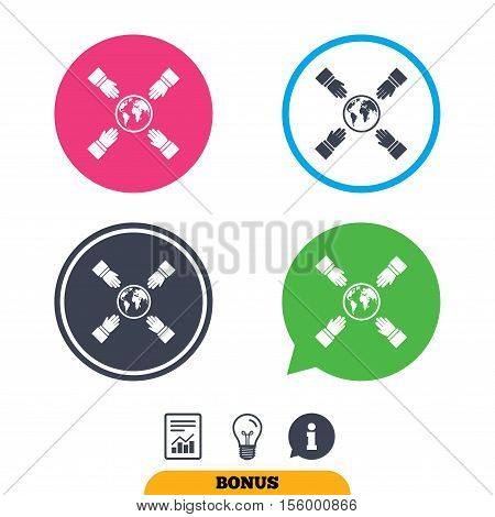 Hands reach for earth sign icon. Save planet symbol. Report document, information sign and light bulb icons. Vector