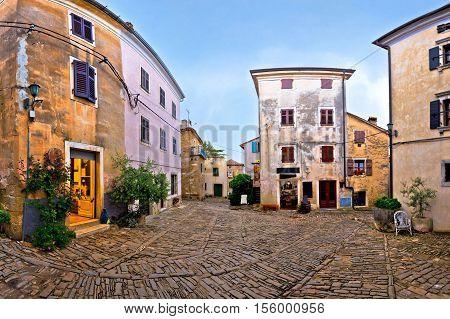 Stone square of Groznjan village region of Istria Croatia