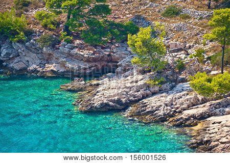 Secret turquoise beach on Brac island Dalmatia Croatia