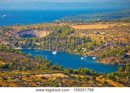 Bobovisca Na Moru village bay aerial view Island of Brac Dalmatia Croatia
