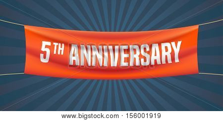 5 years anniversary vector illustration banner flyer logo icon symbol. Graphic design element with red flag for 5th anniversary birthday greeting event celebration