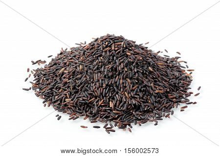 closeup details of Thai rice berry rice berry is a cross-bred unmilled rice possessing dark violet grain and Thai Hom Mali Rice.