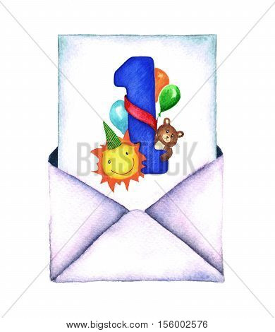 Watercolor retro envelope. Vintage mail icon isolated on white background. Hand painted design element. Watercolor illustration. Birthday greeting card.