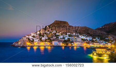 Hydra island on a summer night in Greece. Beautiful landscape with night illumination.