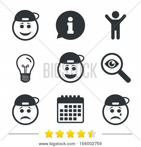 Rapper smile face icons. Happy, sad, cry signs. Happy smiley chat symbol. Sadness depression and crying signs. Information, light bulb and calendar icons. Investigate magnifier. Vector