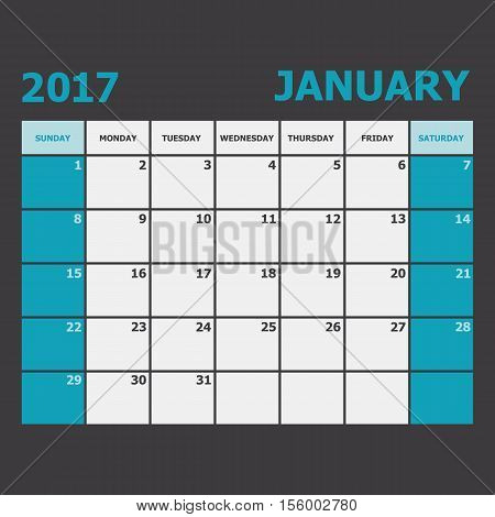 January 2017 calendar week starts on Sunday, stock vector
