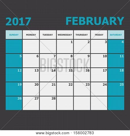 February 2017 calendar week starts on Sunday, stock vector