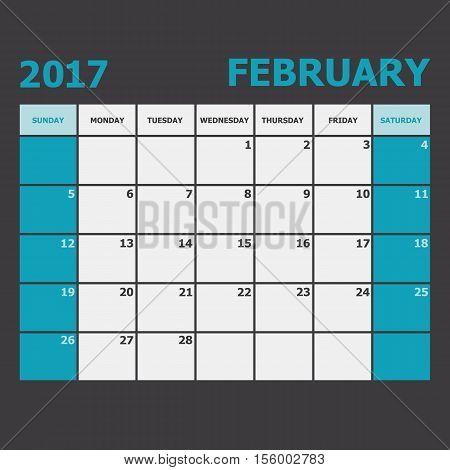 February 2017 calendar week starts on Sunday, stock vector