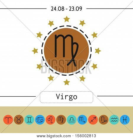 Virgo. Signs of zodiac, flat linear icons for horoscope, predictions. Vector illustration