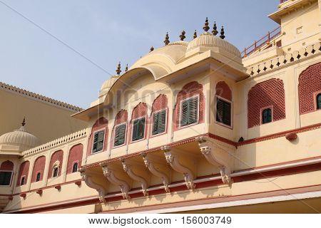 JAIPUR, INDIA - FEBRUARY 16: Chandra Mahal in Jaipur City Palace, Rajasthan, India. Palace was the seat of the Maharaja of Jaipur, the head of the Kachwaha Rajput clan, on February 16, 2016.