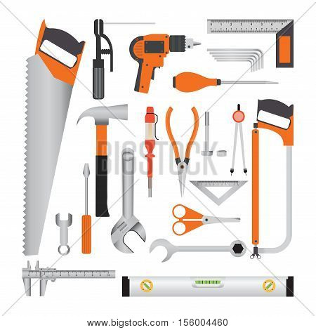 Repair and construction working tools isolated on white equipment flat design vecter illustration.