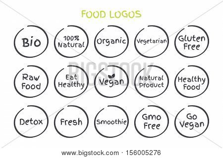 Set of Healthy Food Symbols. Vector Bio 100 Percent Natural Organic Vegetarian Gluten Free Raw Food Eat Healthy Vegan Natural Product Detox Fresh Smoothie GMO Free Go Vegan