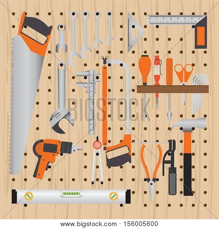 Repair and construction working tools on peg wooden background equipment flat design vecter illustration.