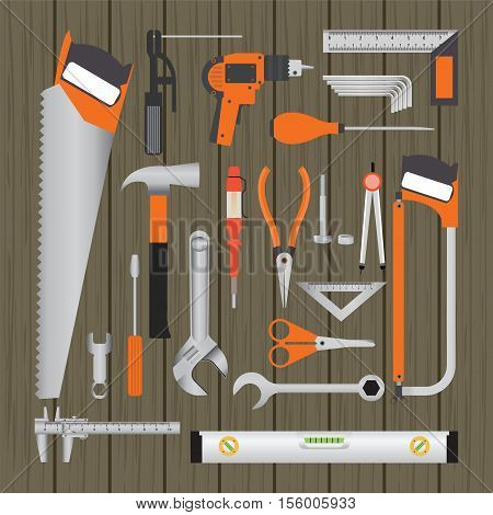 Repair and construction working tools on wooden background equipment flat design vecter illustration.
