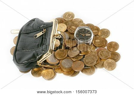 leather purse with metal coins and watches