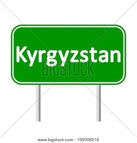 Kyrgyzstan road sign isolated on white background.