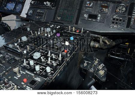 Navy helicopter instrumentation panel inside cockpit view