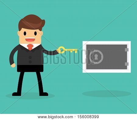 Business Concept. Businessman And Idea In Safe.