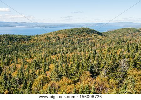 View from Mont-St-Alban viewpoint in Forillon National Park Gaspe Peninsula Quebec Canada.