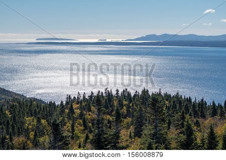 View from Mont-St-Alban viewpoint in Forillon National Park Gaspe Peninsula Quebec Canada. Perce Rock in the distance.