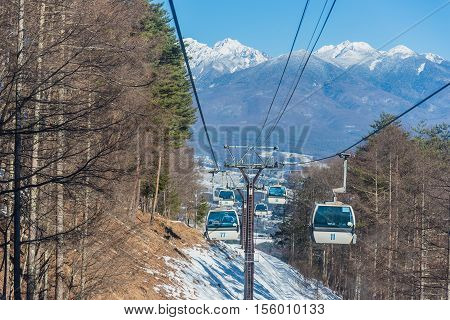 Famous cable way Ski area Nagano Japan