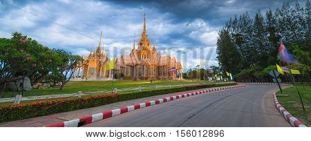 Wat Non Kum Temple in thailand. Temple on twilight