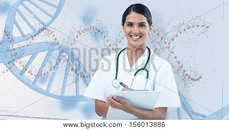 Happy female doctor writing on clipboard against device screen of dna helix pattern