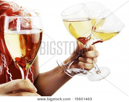 Woman's hands with wine glasses isolated on white.