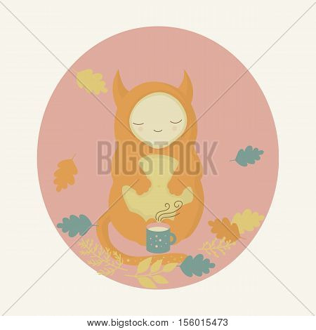 Cute orange monster and mug of tea in autumn forest.