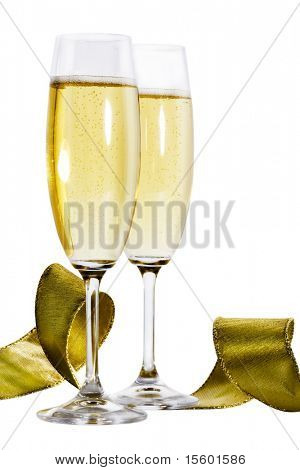 Pair of champagne flutes and golden ribbon