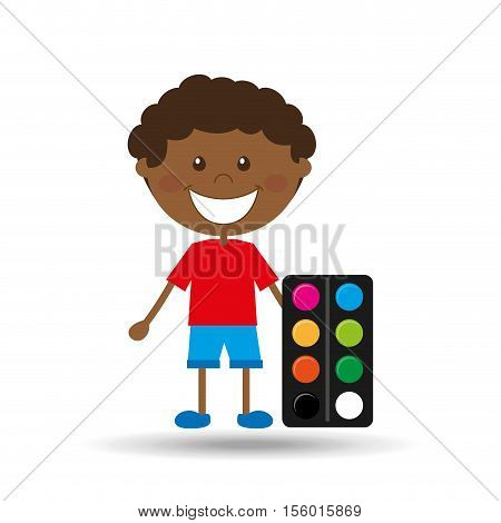 happy boy student palette color graphic vector illustration eps 10