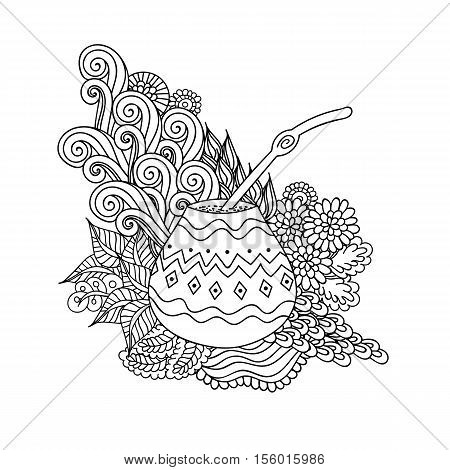 Yerba mate tea in gourd and straw and floral wave doodle pattern. Hand drawn black and white illustration in