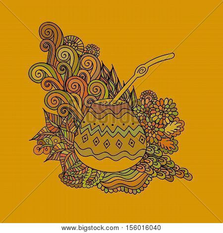 Yerba mate tea in gourd and straw and floral wave doodle pattern. Hand drawn illustration in