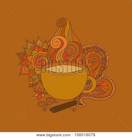 Hand drawn illustration. Cup of Indian masala tea and spices flavoring ethnic pattern