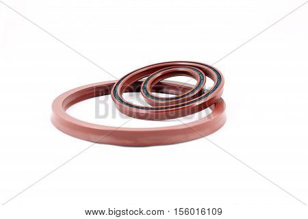 Hydraulic cylinder rod seal strengthened with rubber ring