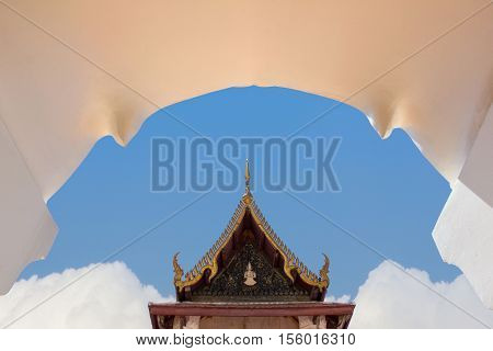 Buddhist temple in the arch door of Ayuthaya Province ( Ayutthaya Historical Park ) Thailand.
