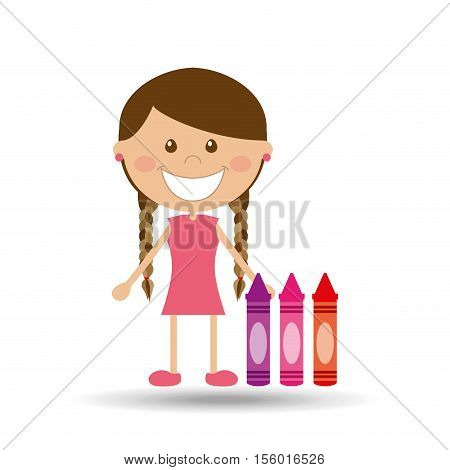 cheerful girl study crayons design vector illustration eps 10