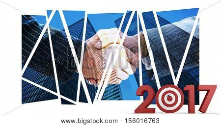 Composite image of numbers with bulls eye arrow against composite image of business people shaking hands