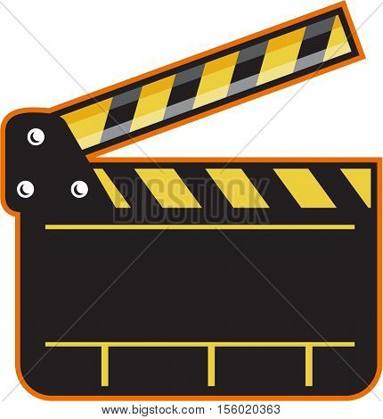 Illustration of an open movie camera slate clapper board viewed from front set on isolated white background done in retro style.