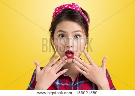 Young Surprised Retro Woman Shopper With Pin Up Makeup. Retro Style